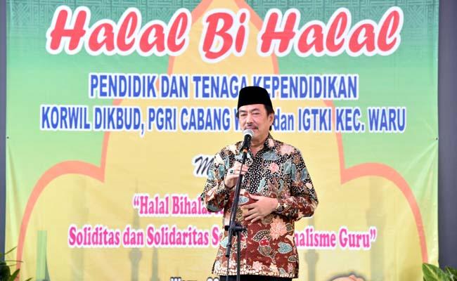 KADER TANGGUH - Wabup Sidoarjo, Nur Ahmad Syaifuddin meminta para guru dari PGRI maupun IGTKI mencetak kader bangsa tangguh, berilmu dan berakhlak dalam acara Halal Bihalal, Kamis (20/06/2019)