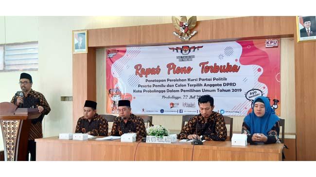 KPU Kota Probolinggo Tetapkan Perolehan Kursi Parpol dan DPRD 2019-2024 Terpilih