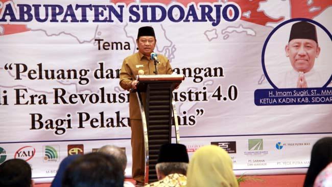 BUKA - Bupati Sidoarjo, Saiful Ilah membuka acara Muskab Kadin Sidoarjo ke VI yang digelar di Favehotel, Sidoarjo, Rabu (24/07/2019)