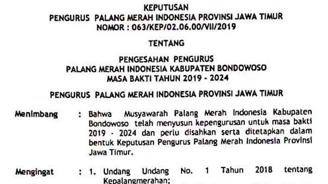 SK Pengesahan Pengurus PMI Bondowoso Sarat Kejanggalan