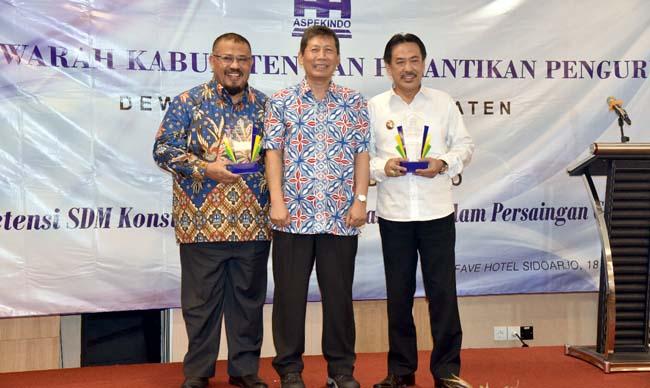 MUSKAB - Wabup Sidoarjo, Nur Ahmad Syaifuddin mengingatkan pentingnya organisasi Aspekindo dalam pembangunan di Sidoarjo saat Muskab di Favehotel, Sidoarjo, Rabu (18/9/2019)