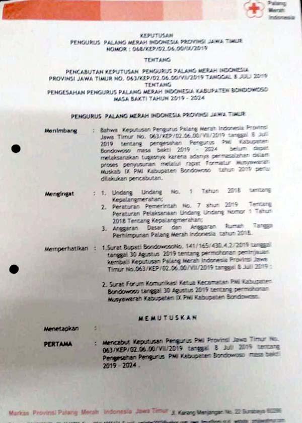 SK PMI Jatim tentang pencabutan SK pengesahan pengurus PMI Bondowoso 2019-2024 pimpinan M. Iqbal Afif